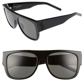 Saint Laurent Women's Sl M16 55Mm Flat Top Sunglasses - Black