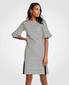 Ann Taylor Tall Striped Fluted Sleeve Shift Dress