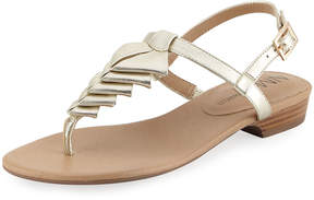 Neiman Marcus Yerik Metallic Folded Leather Sandal, Platino