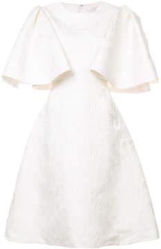 Christian Siriano flared sleeve jacquard dress