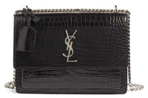 Saint Laurent 'Medium Monogram Sunset' Croc Embossed Leather Shoulder Bag - Black - BLACK - STYLE