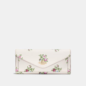 COACH Coach Soft Wallet With Cross Stitch Floral Print - LIGHT GOLD/CHALK CROSS STITCH FLORAL - STYLE