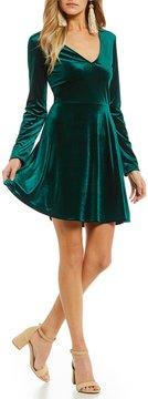 Copper Key Velvet 3/4 Sleeve Velvet Swing Dress