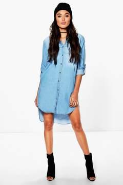 boohoo Longline Denim Shirt Dress