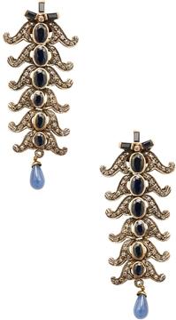 Artisan Women's Long 18K Yellow Gold, Blue Sapphire & 1.45 Total Ct. Diamond Earrings