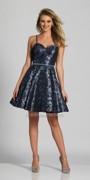 Dave and Johnny Shimmering Sweetheart Printed Fit and Flare Homecoming Dress