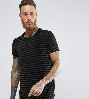 Reclaimed Vintage Inspired Ringer T-Shirt In Black With Gold Stripes