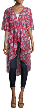 Almost Famous Short Sleeve Floral Kimono-Juniors