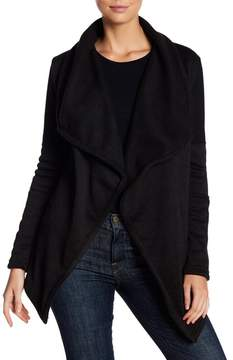 Blanc Noir Mesh Ponte Textured Knit Cardigan