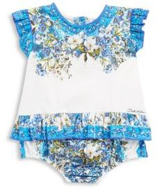 Dolce & Gabbana Baby's Floral Cotton Rompers