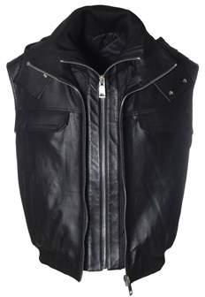 Les Hommes Men's Black Leather Outerwear Jacket.
