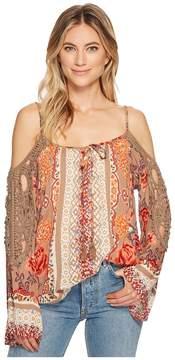 Angie Cold Shoulder Print Crochet Top Women's Blouse