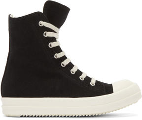 Rick Owens Black Canvas High-Top Sneakers