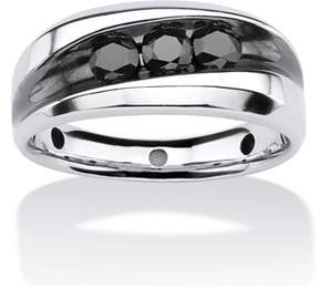 Black Diamond Seta Jewelry Men's 3/4 Tcw Channel Set Ring In Platinum Over Sterling Silver.