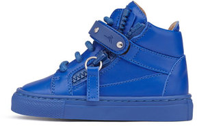 Giuseppe Zanotti Leather High-Top Sneaker, Royal Blue, Infant/Toddler