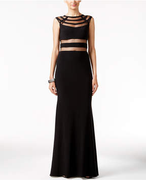 Betsy & Adam Cutout Illusion Gown