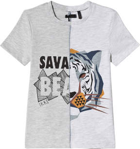 Ikks Grey Marl Savannah Beast Tiger T-Shirt