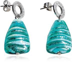 Antica Murrina Veneziana Marina 2 - Turquoise Green Murano Glass and Silver Leaf Drop Earrings