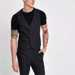 River Island Mens Blue check skinny fit vest