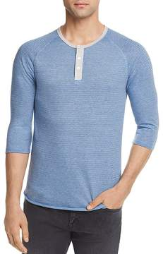 Alternative Striped Three-Quarter Sleeve Raglan Henley