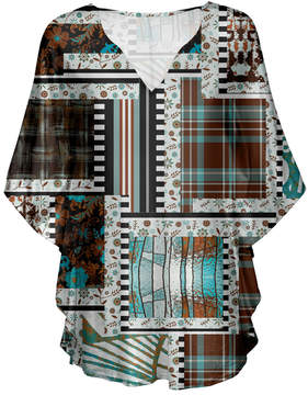 Lily Brown & Taupe Patchwork V-Neck Tunic - Women & Plus