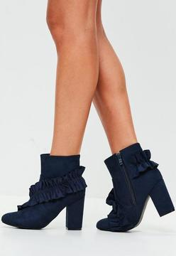 Missguided Navy Frill Faux Suede Ankle Boots