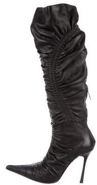 Gianmarco Lorenzi Leather Pleated Boots