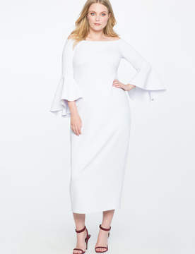 ELOQUII Off the Shoulder Flare Sleeve Gown
