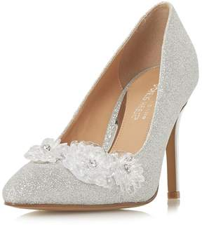 Head Over Heels *Head Over Heels by Dune Silver Ayria Heeled Court Shoes