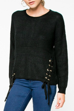 Everly Lace-Up Knit Sweater