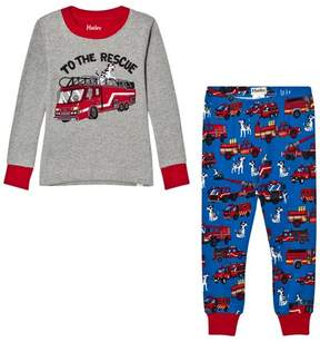 Hatley Grey Fire Truck Applique and Printed Bottom Pyjamas