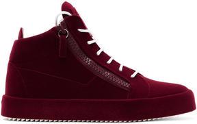 Giuseppe Zanotti Burgundy Flocked May London High-Top Sneakers