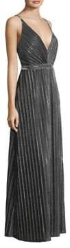 Laundry by Shelli Segal Metallic Pleated Foil Gown
