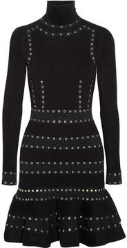 Alexander McQueen Eyelet-embellished Stretch-knit Turtleneck Mini Dress - Black