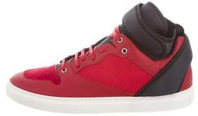 Balenciaga Leather-Trimmed High-Top Sneakers