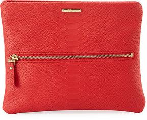 GiGi New York Snake-Embossed Crossbody Clutch Bag, Red