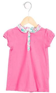Jacadi Girls' Floral-Trimmed Polo Top