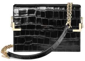 Aspinal of London | Chelsea Bag In Deep Shine Black Croc | Black deep shine croc