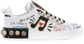 Dolce & Gabbana musical patch lace-up sneakers