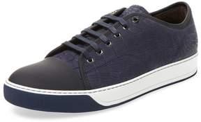 Lanvin Men's Embossed Leather Low Top Sneaker