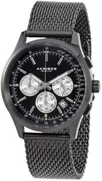 Akribos XXIV Akribos Chronograph Black Dial Black Steel Mesh Men's Watch