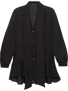 Etro Pussy-bow Ruffled Silk-chiffon Blouse - Black