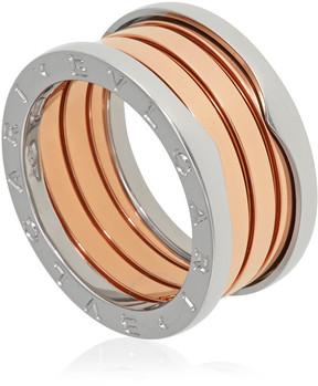Bvlgari B.Zero1 18K Pink and White Gold 4-Band Ring Size 6.25