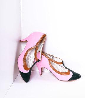 Unique Vintage Blush Pink Tricolor Leatherette T-Strap Pumps Shoes