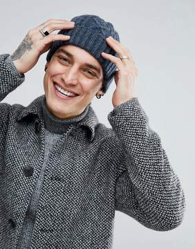 Asos Fisherman Beanie In Blue Cable Knit
