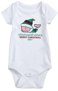Vineyard Vines Infant Girl's Elf Whale Merry Christmas 2017 Bodysuit