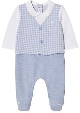 Mayoral Blue Gingham Waistcoat Suit Babygrow