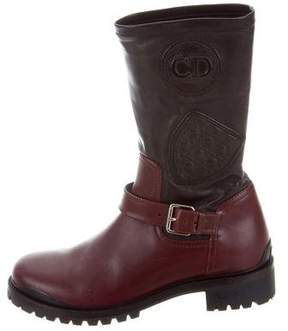 Christian Dior Colorblock Leather Biker Boots