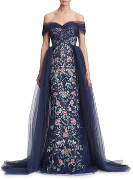 Navy Off-the-Shoulder Floral Tulle Evening Gown