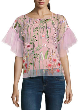BELLE + SKY Embroidered Mesh Ruffle Sleeve Top